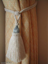 CURTAIN TASSEL TIEBACKS WITH CHROME TRIM - CREAM COTTON